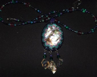 Beaded Mother of Pearl Necklace with antique, and cut glass beads, plus cut amethyst, adjustable to different lengths