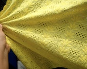 New Arrival-Half Yard of Super Soft Bright Yellow Eyelet Cotton Fabric - Product of Thailand 45x100cm