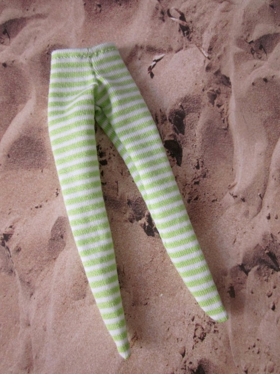 Green and White Stripe Tights for Blythe