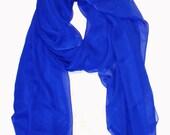 cobalt blue silk chiffon scarf