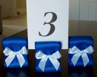 Table Number Holders - Wedding Decor - Ten (10) with Royal Blue and White Satin Ribbon - Customize Your Colors