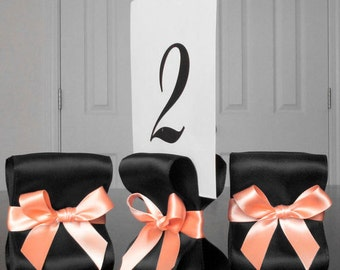 Table Number Holders - Set of Ten (10) with Black and Peach Satin Ribbon - Customize Your Colors