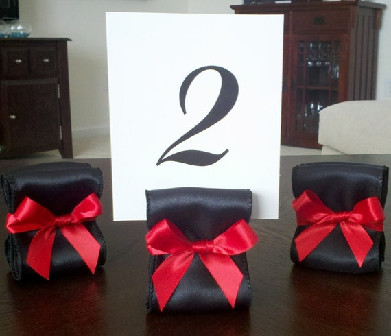 Table Number Holders - Wedding Decor - Set of Ten (10) with Black and Red Satin Ribbon - Customize Your Colors