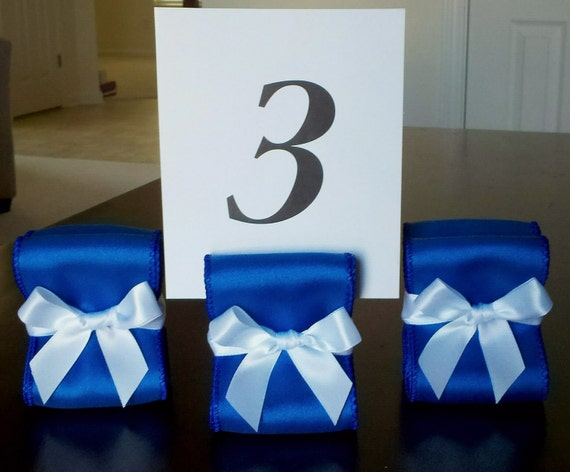 CLEARANCE PRICE - DISCONTINUED Main Color - Table Number Holders - Ten (10) with Royal Blue and White Satin Ribbon