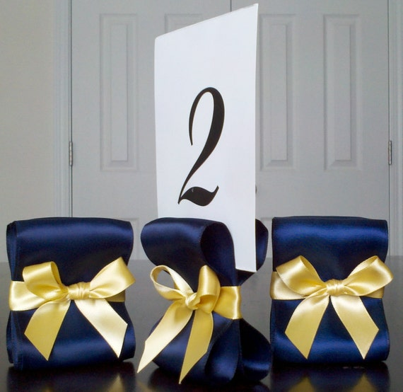 Table Number Holders - Set of Ten (10) with Navy Blue and Yellow Gold Satin Ribbon - Customize Your Colors