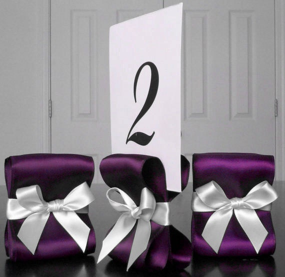 Table number holders wedding decor ten 10 with eggplant for Table number holders