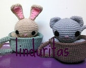 Coffee bunny and kitty amigurumi crochet toy kawaii