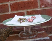 Vintage Green and White China Tidbit Tray...free shipping