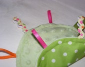 Baby Pink and Green Crinkle Taggie Toy and Lovey...free shipping