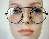 Black Clear Round Glasses A25