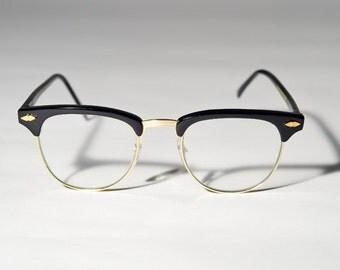 Vintage Deadstock Black Clubmaster Eye Glasses Sunglasses A7