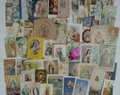 Collection of 57 vintage and antique holy cards Religious