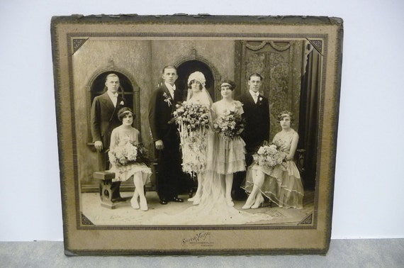 Antique photograph Wedding Party Groom and don't mess with me Bride