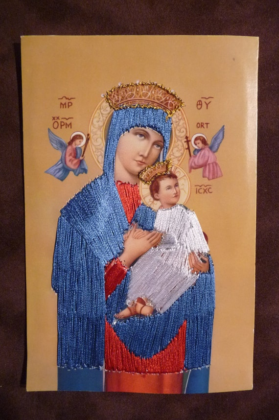 Lady of Perpetual Help religious card Silk embroidery religious vintage