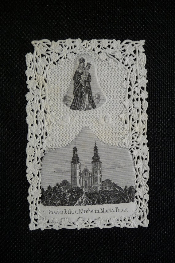 Antique lace holy card German Comforting picture of Grace Church Maria religious prayer