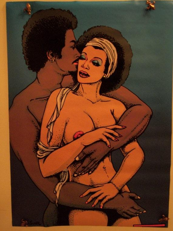 """SALE """"Black Love"""" Mature Original Blacklight  Vintage Poster"""