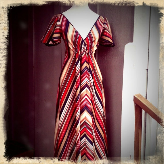 BONANZA  ///   1970s Striped Maxi Dress