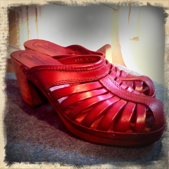 WOODWORKS   ///  Oxblood Leather 1970s Strappy Wood Clogs