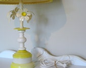 Cute Metal Enameled Daisy Butter Yellow Vintage Lamp 1960