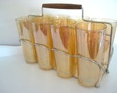 Vintage Glass Tumbler Set of (8) -  Iridescent Jeanette Flori-gold with Chrome Carrier - NehiandZotz