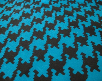"""Vintage Fabric - Teal Blue & Black - Hounds Tooth - 62""""L x 36""""W - 1960's - Retro Sewing Material - Craft Supply - Yardage"""