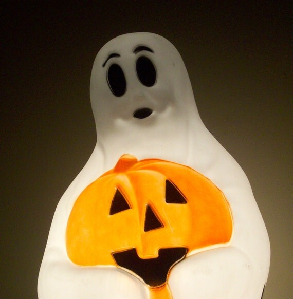 """SPOOKY Vintage Halloween Ghost Light Empire Plastic Blow Mold 36"""" H 1960's"""