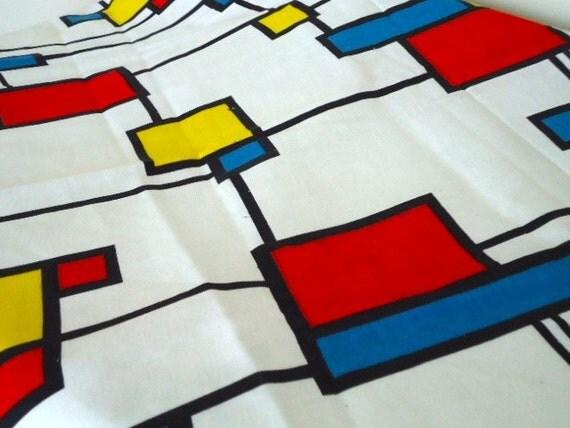 "Reserved for Connie Mod Vintage Fabric, Partridge Family Bus Geometric Primary Color Block Cotton- 52""L x 44""W Vintage Fabric Destash"