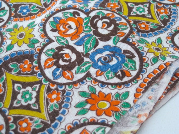 "Full Feed Sack Vintage Fabric -Brown, Blue and Orange 36""L x 49""W - NehiandZotz"