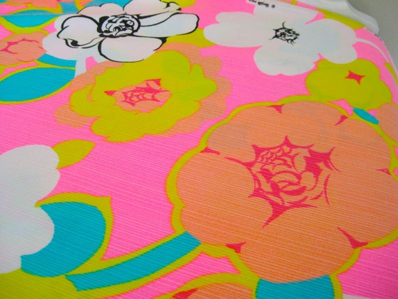"""Reserved for Suzanne-Groovy Hot Pink Flowers Vintage Fabric-3 Yards-36""""Wide-Wamsutta Mills-Destash"""