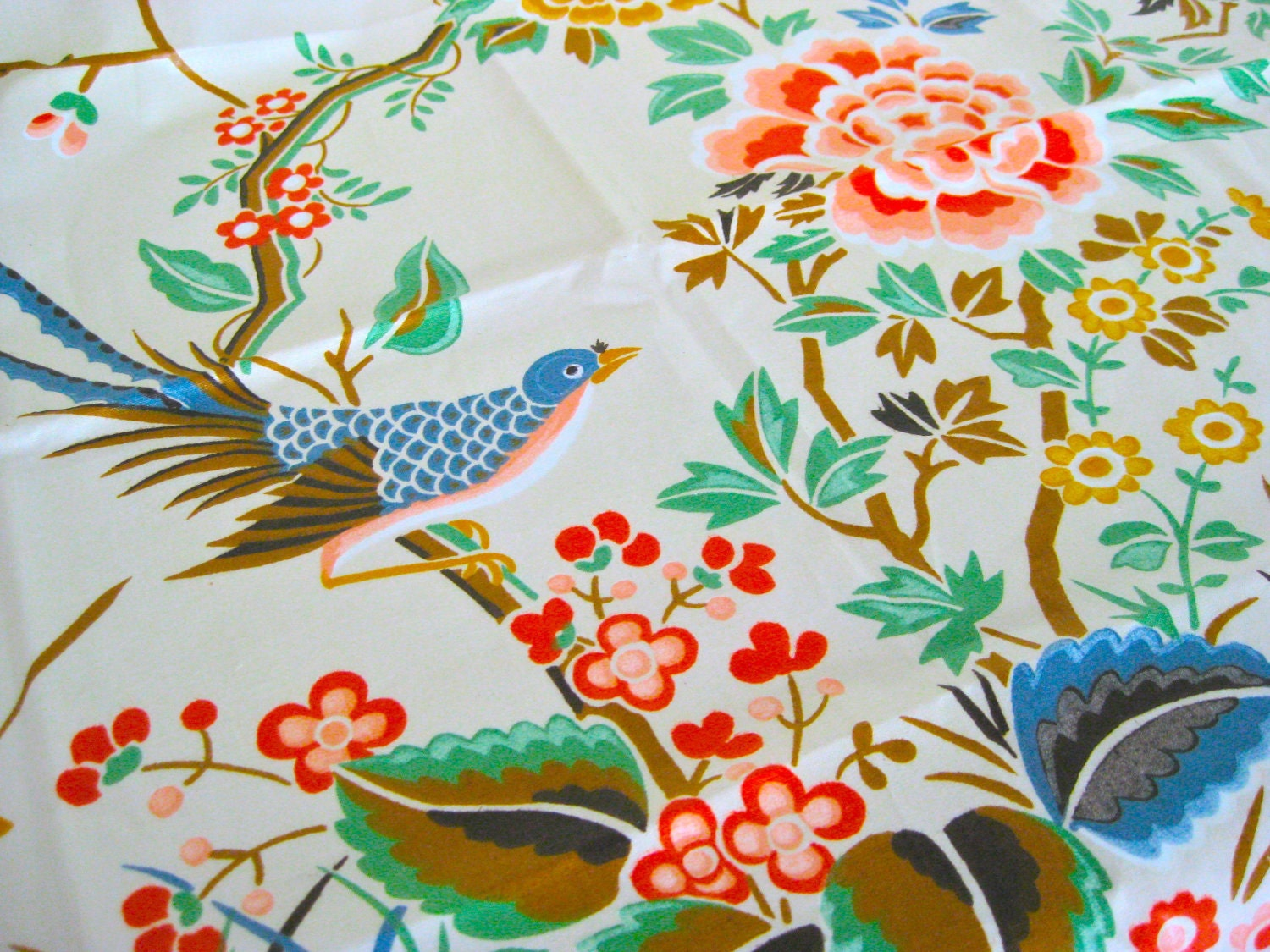 Gorgeous chinoiserie vintage fabric oriental bird chintz panel for Vintage fabric