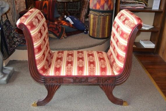 Ottomans Ornate Mahogany Ottoman: Mahogany Upholstered Ottoman / Mahogany Stool / By