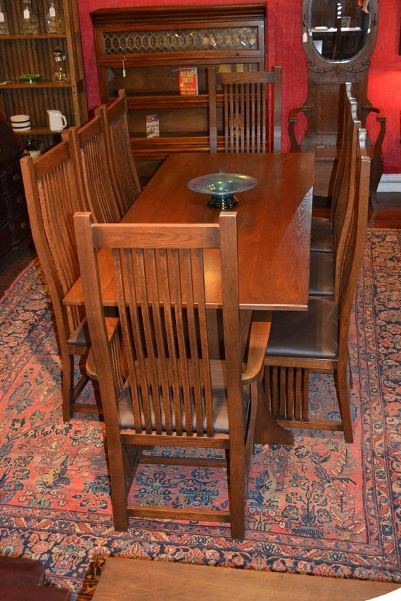 Arts And Crafts Mission Oak Dining Table 8 By