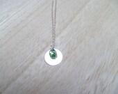 Pear Teardrop on Silver Disc Necklace