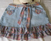 One of a kind denim skirt with multi-color gingham ruffles, mini skirt