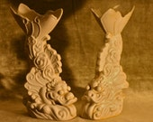 Chinese Fish, Asian Fish vases book ends Chinese yu