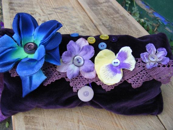 Faerie Clutch Purse Plum Purple Vintage Velvet