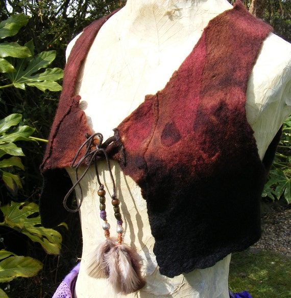 Tribal Gyspy Hand Felted Cropped Vest Size Small Adjustable