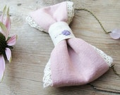 Hand embroidered romantic pink linen bow tie necklace - Gift for her under 30