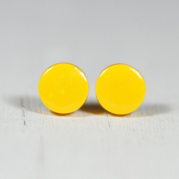 Yellow Solar Power Studs - READY TO SHIP 7Mm Clay Dot Dainty Earrings - Polymer Clay Jewelry