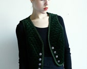 Forest Green Vest with Embroidery and beautiful Ornate Buttons