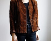 Brown Cropped faux Suede Jacket with Fitted Waist Hippie Chic