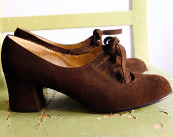 Brown Suede Shoes Lace up Chunky Heels oxford 4.5 7 38