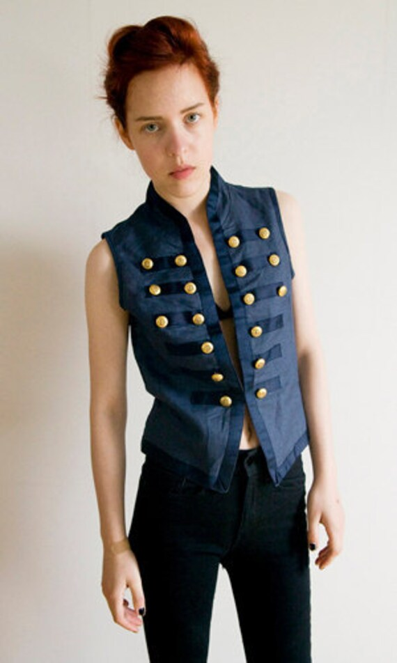Military inspired vest, Navy with Golden buttons