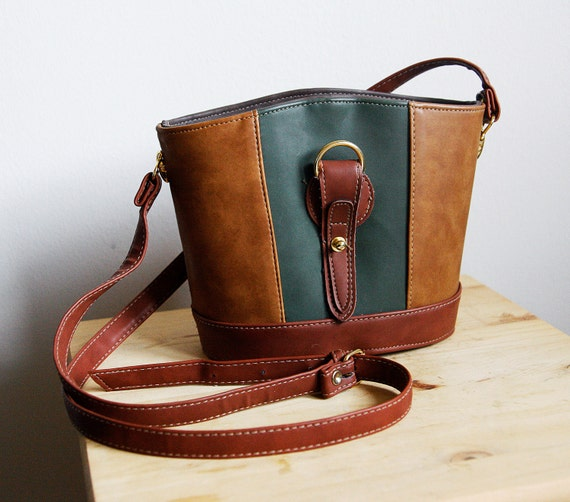 Leather Purse / Satchel bag, Brown and green, Round shape Cross body Messenger style