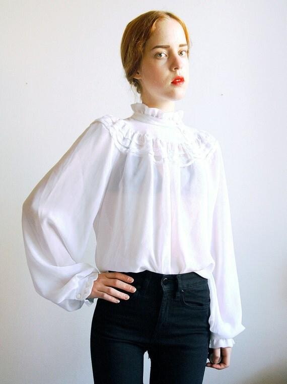 Sheer Ruffle Blouse Button Up Victorian High Collar