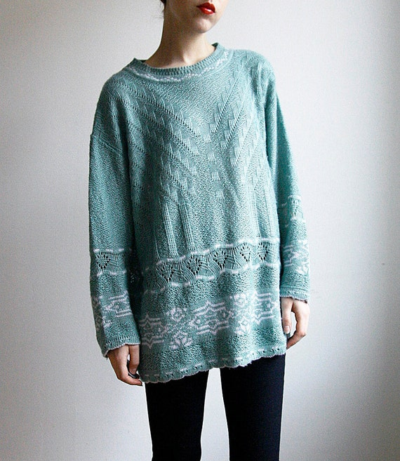 Knit Sweater Mint Green with White Print Nordic