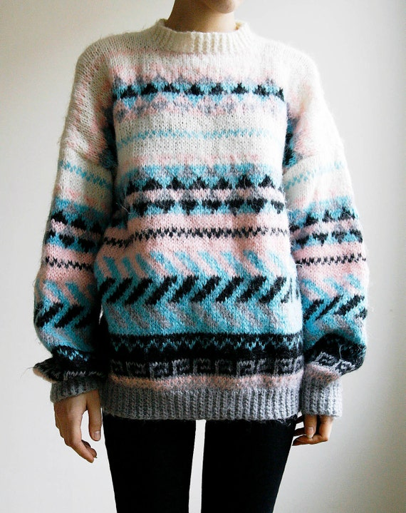 Hand Knitted Ski Sweater Southwestern Tribal Print Oversized