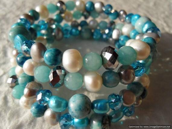 Turquoise Wrap Around Bracelet - Blue Jasper, Pearl June Birthstone, Gemini, Amazonite Ocean Coil Cuff, Thorat Chakra