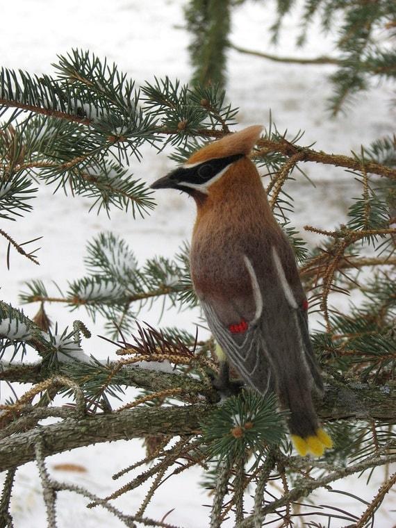 Needle Felted Bird - Cedar Waxwing