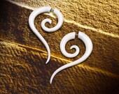 Fake Gauge, Spiral Tail Earrings, Tribal Jewelry, Bone, Split, Expanders, Cheaters, Handmade, Plugs, Organic - B4